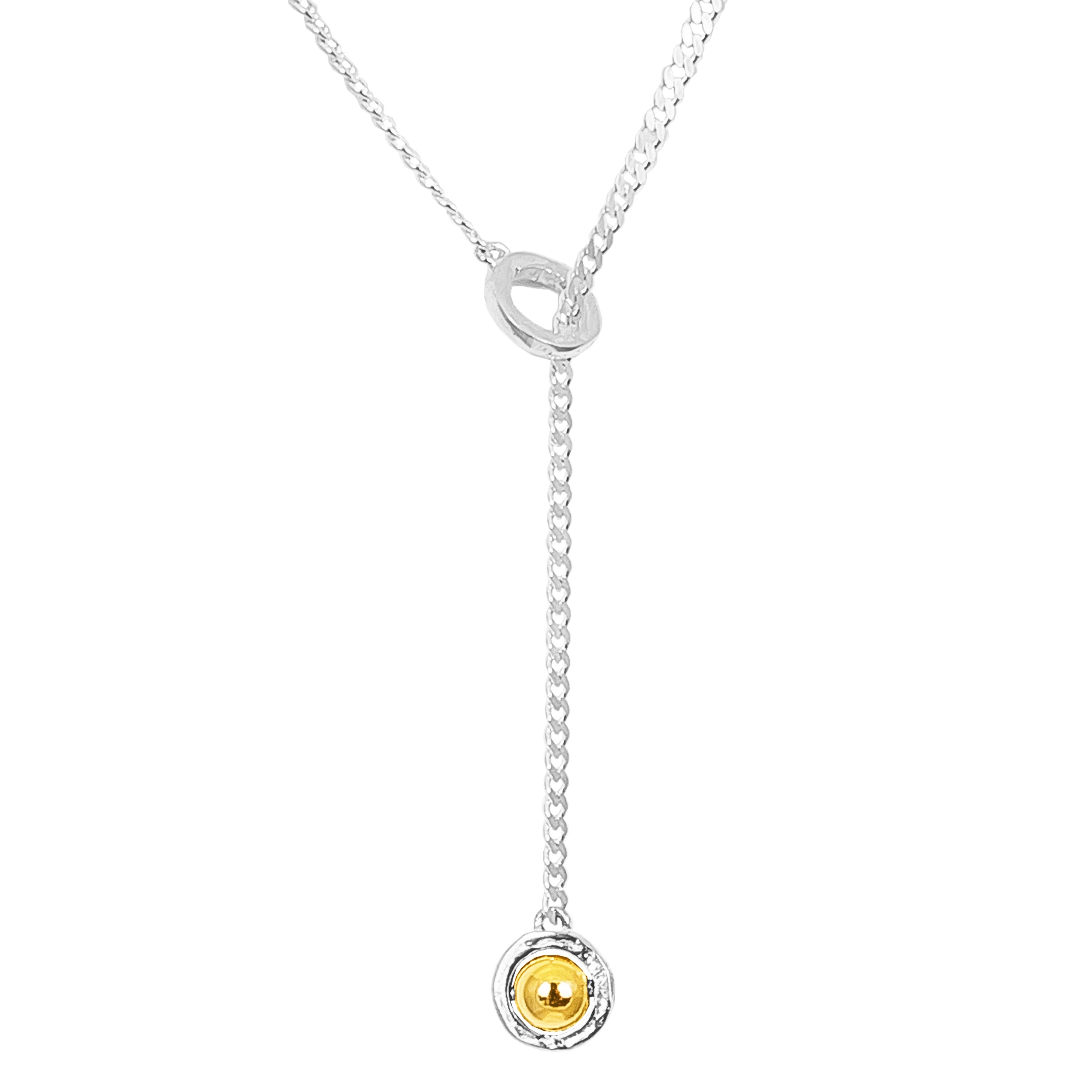 Atticus Medium Charm Lariet Necklace | Polished Gold Detail