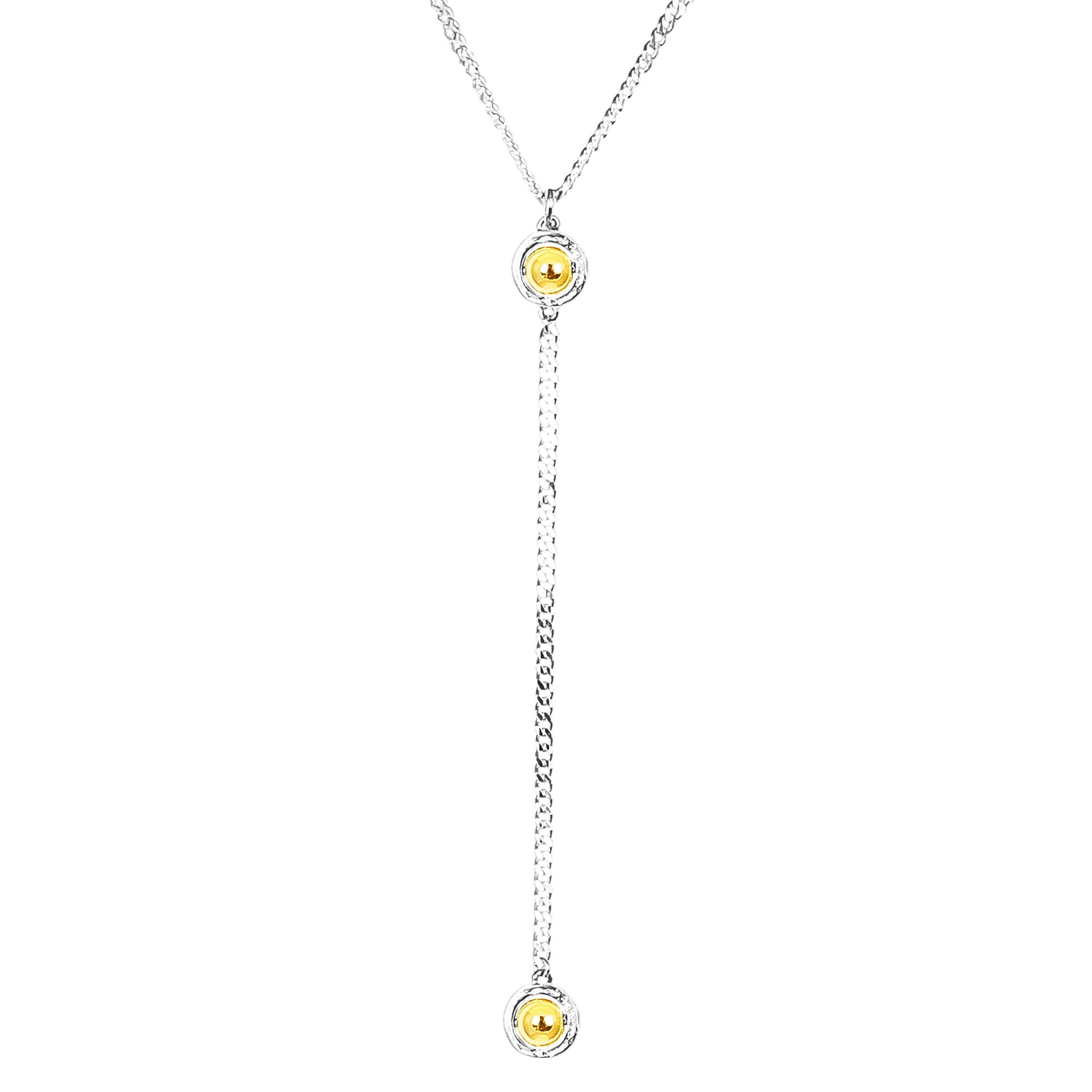 Atticus Medium Double Feature Lariet Necklace - Mid | Polished Gold Detail