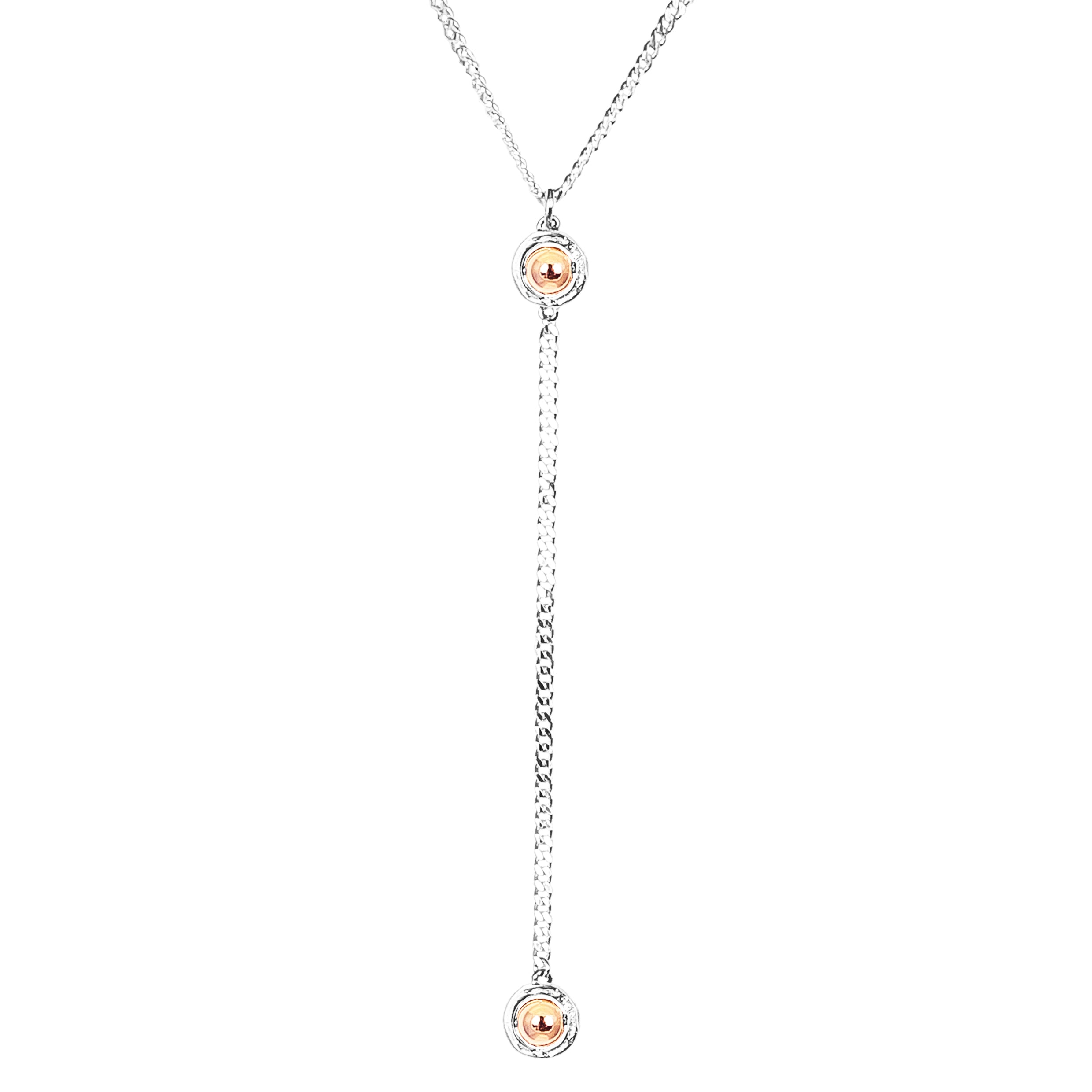 Atticus Medium Double Feature Lariet Necklace - Mid | Polished Rose Detail