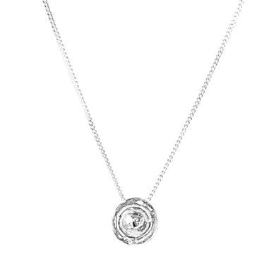 Atticus Medium Necklace | Hammered Silver Detail