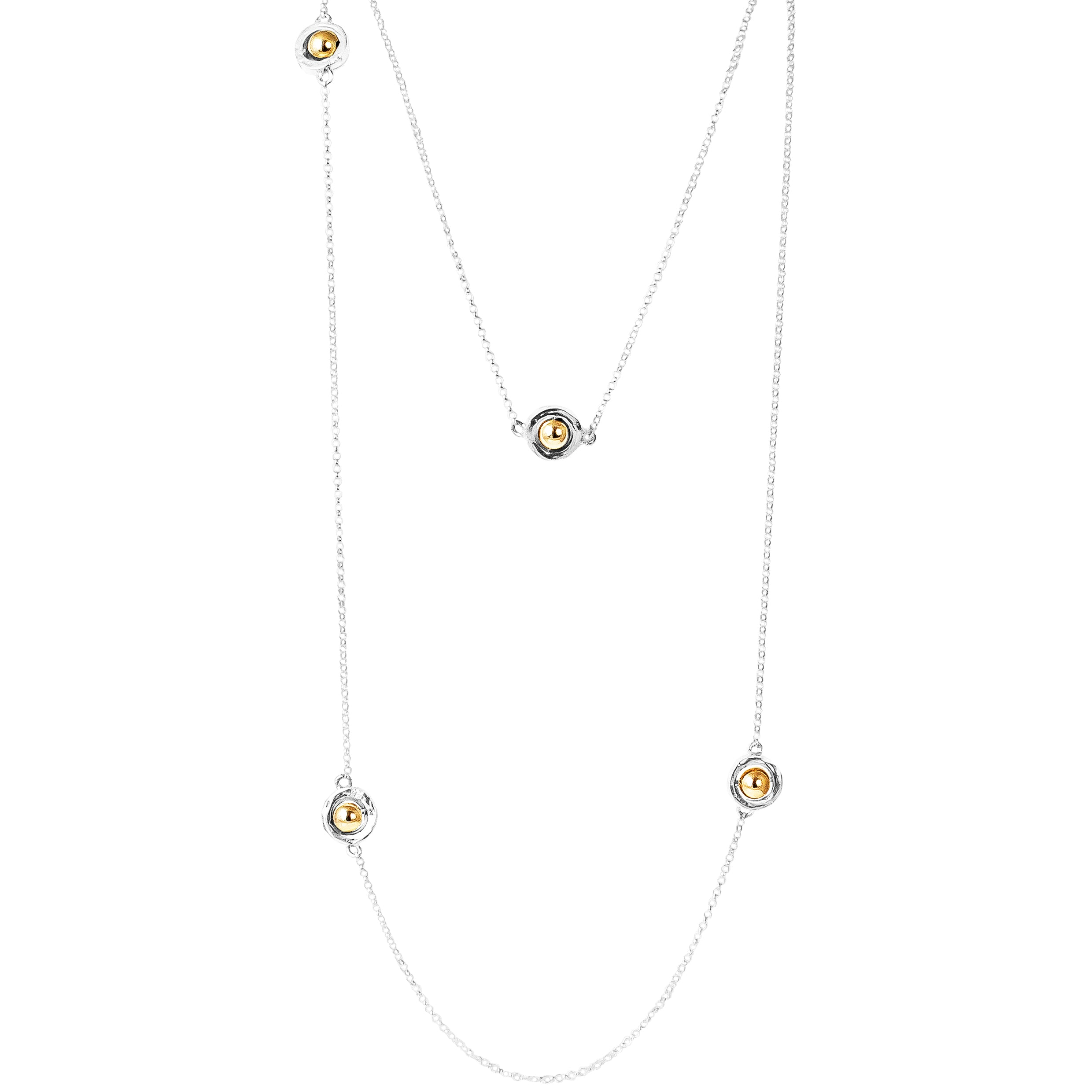 Atticus Multi Feature Necklace - Long | Polished Gold Detail