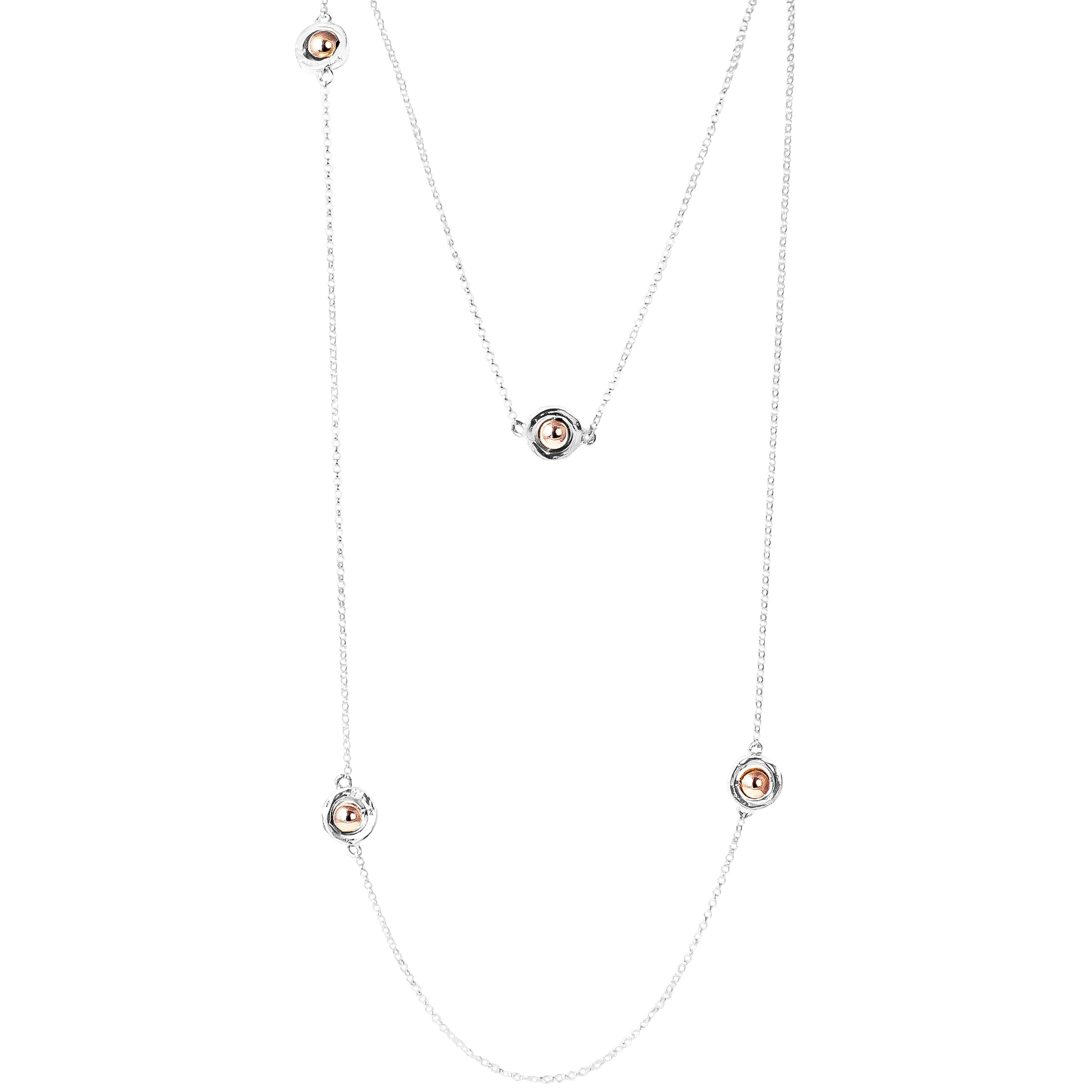 Atticus Multi Feature Necklace - Long | Polished Rose Detail