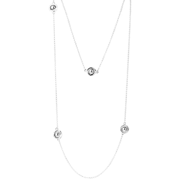 Atticus Multi Feature Necklace - Long | Polished Silver Detail