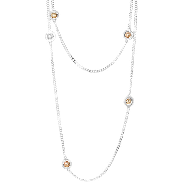 Atticus Multi Feature Statement Chain Necklace - Long | Hammered Gold, Rose And Silver Detail