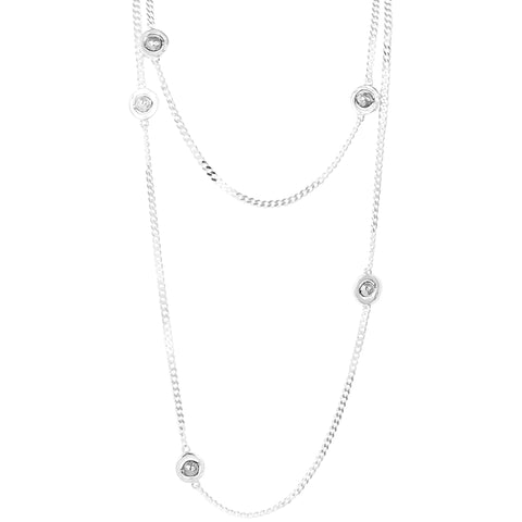 Atticus Multi Feature Statement Chain Necklace - Long | Hammered Silver Detail