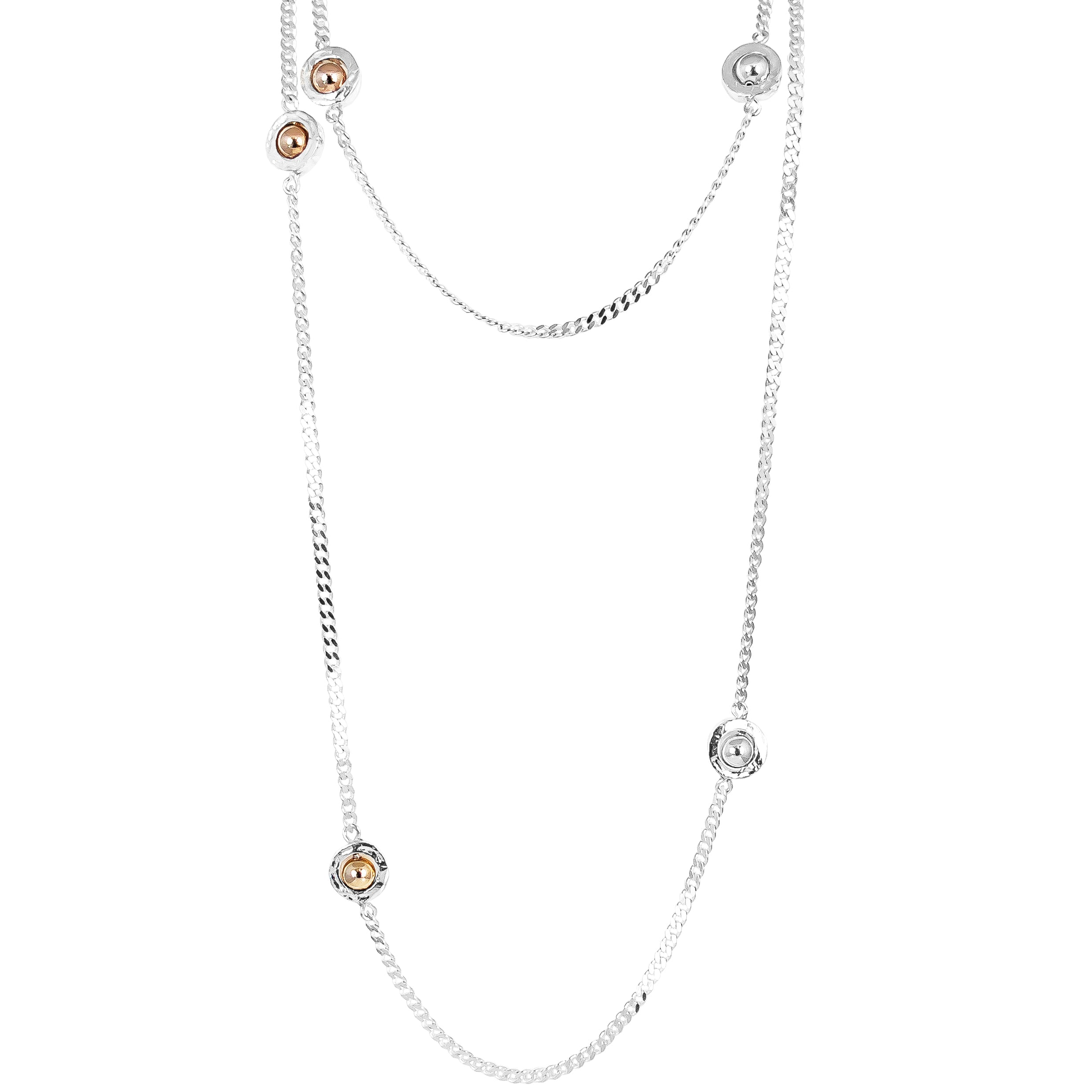Atticus Multi Feature Statement Chain Necklace - Long | Polished Gold, Rose And Silver Detail