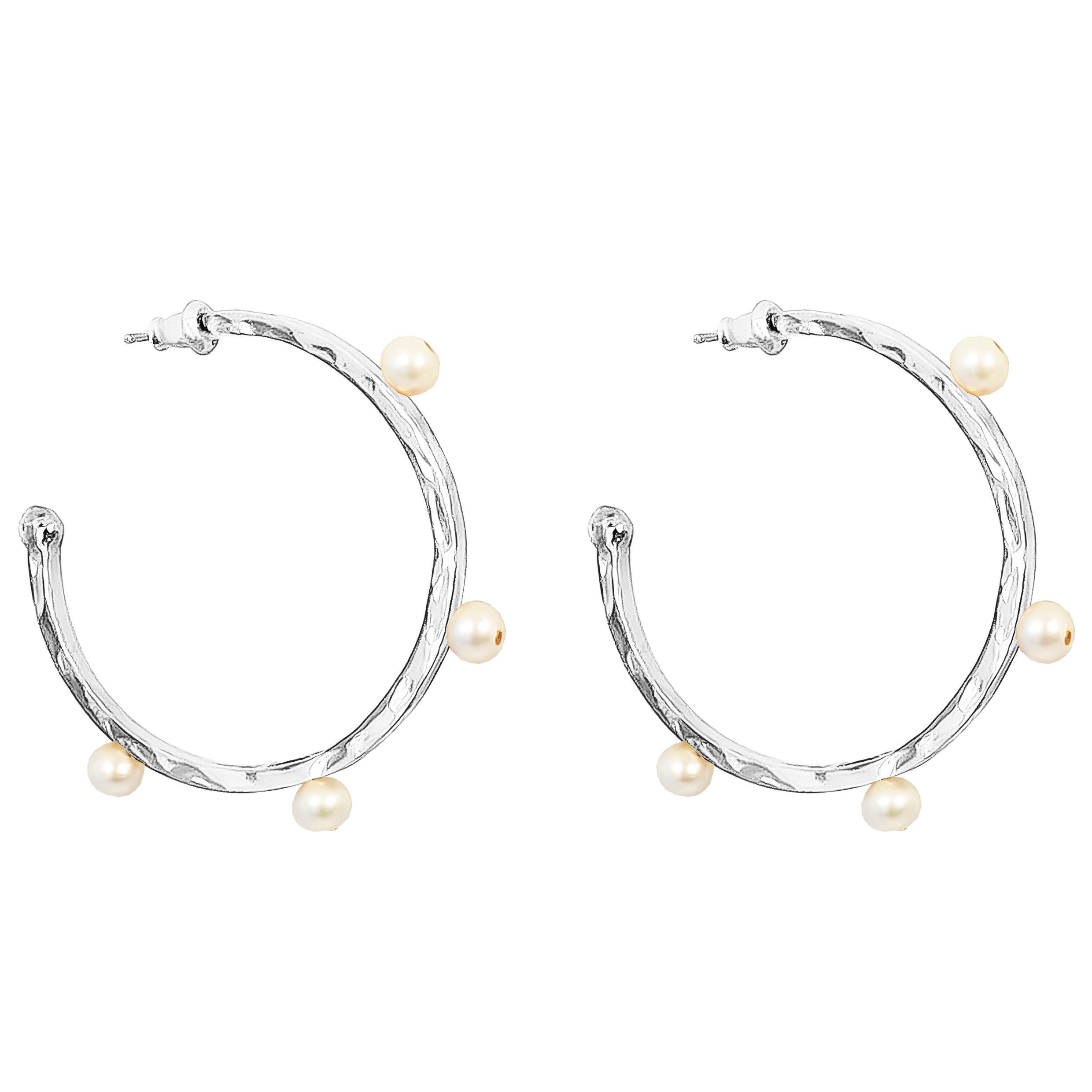 Bella Hammered Hoop Earrings | Silver With Pearl Detail