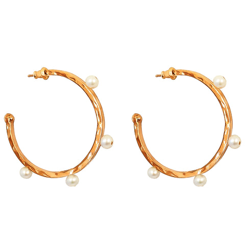 Bella Hammered Hoop Earrings | Rose With Pearl Detail