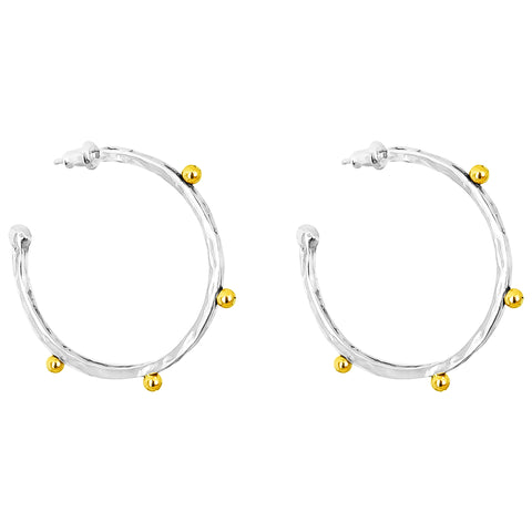 Bella Large Hammered Hoop Earrings | Gold Detail