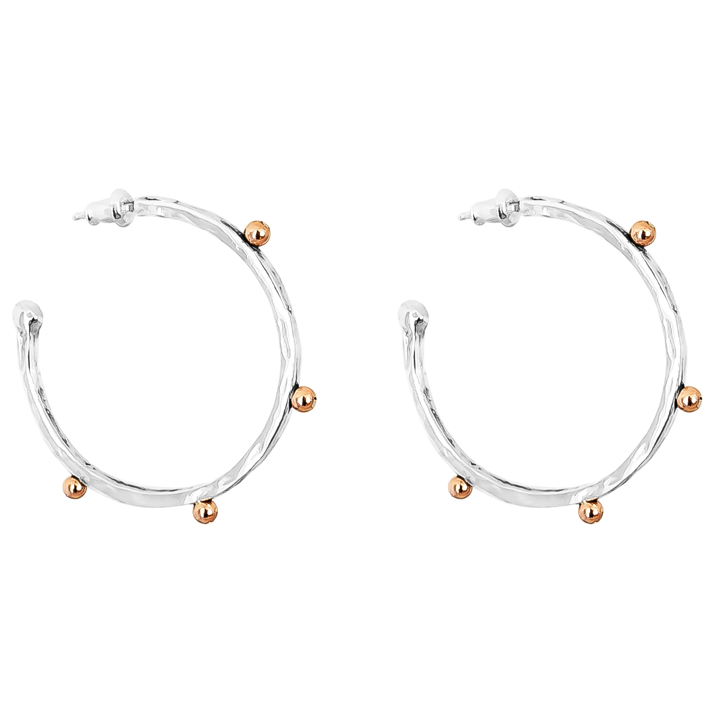 Bella Large Hammered Hoop Earrings | Rose Detail