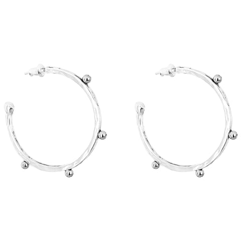Bella Large Hammered Hoop Earrings | Silver Detail