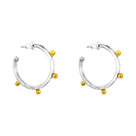 Bella Medium Hammered Hoop Earrings | Gold Detail