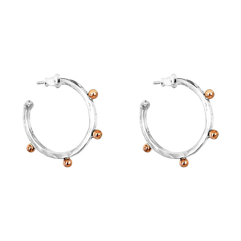 Bella Medium Hammered Hoop Earrings | Rose Detail