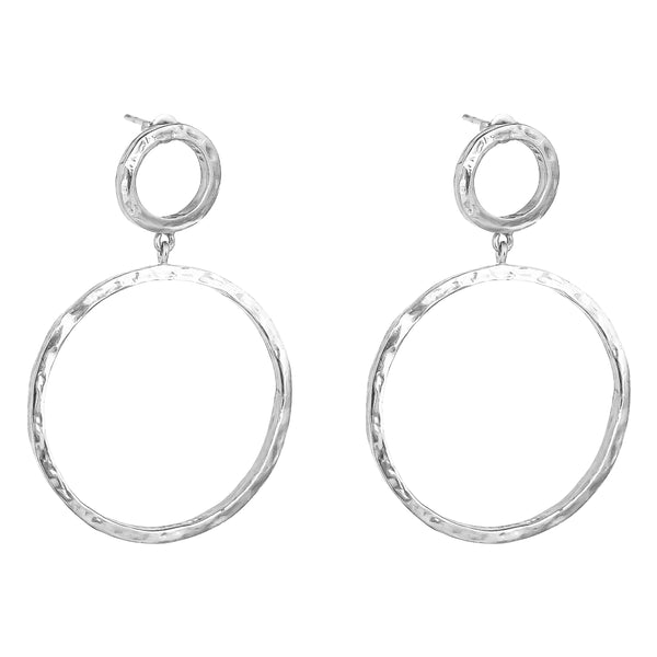 Belvue Hammered Earrings | Silver