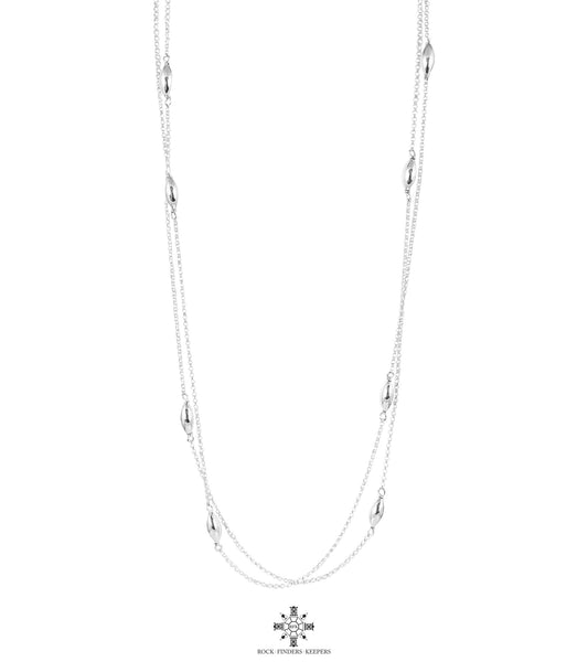 Cassidy Necklace - Long | Polished Silver Detail