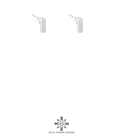 Cayge Fine Polished Bar Stud Earrings | Silver