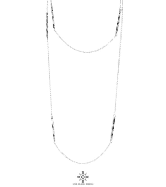 Cooper Necklace - Long | Hammered Silver Detail