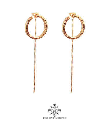 Cuba Earrings With Chain Detail | Gold