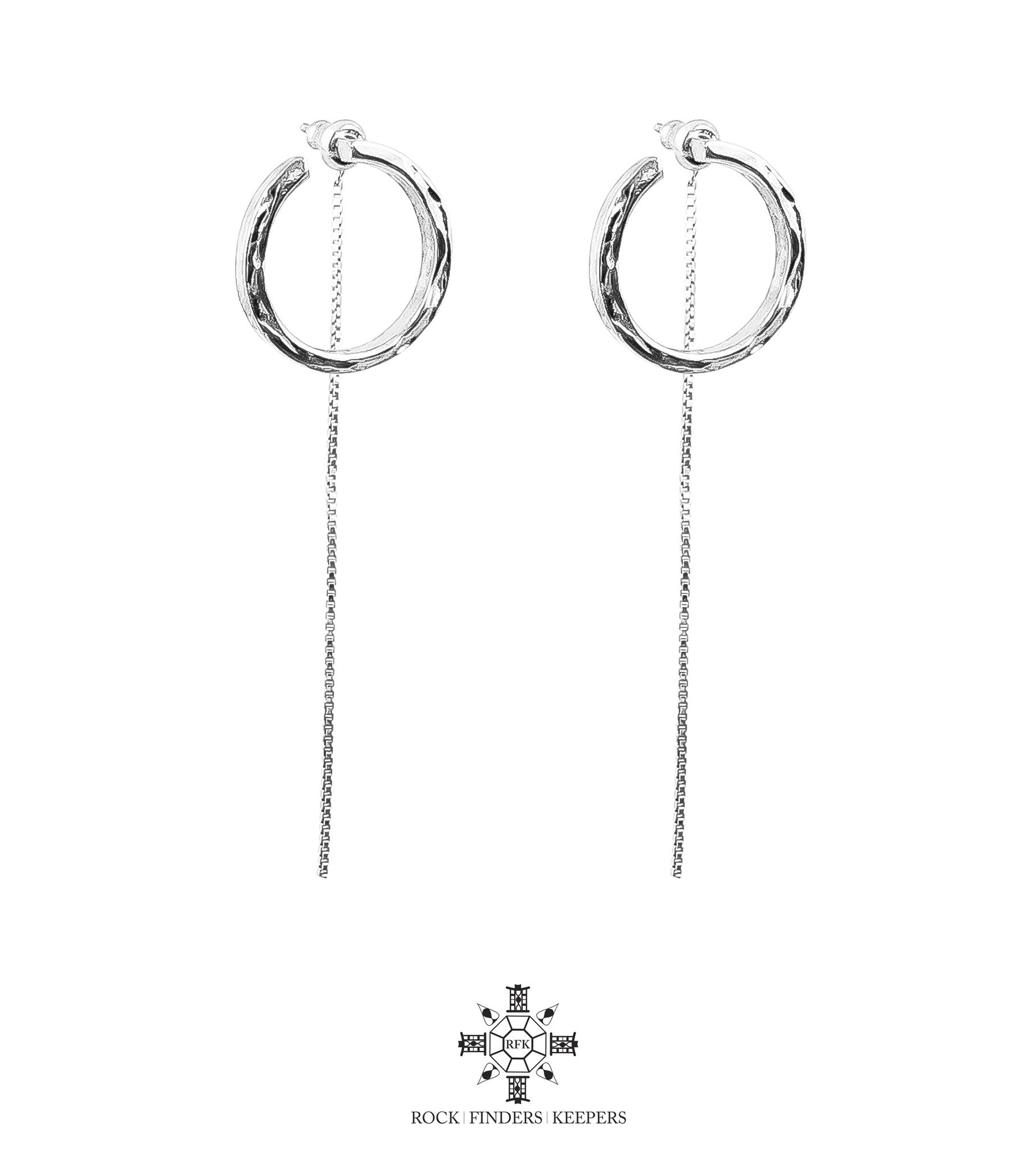 Cuba Earrings With Chain Detail | Silver