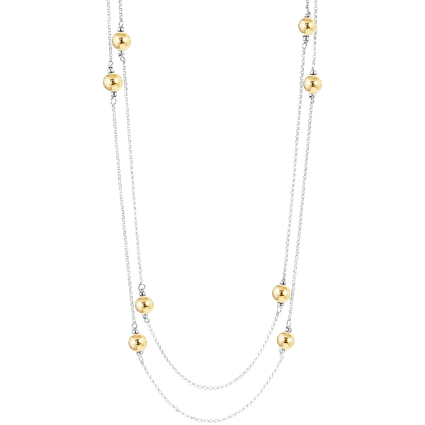 Carmen Necklace - Long | Polished Gold Detail