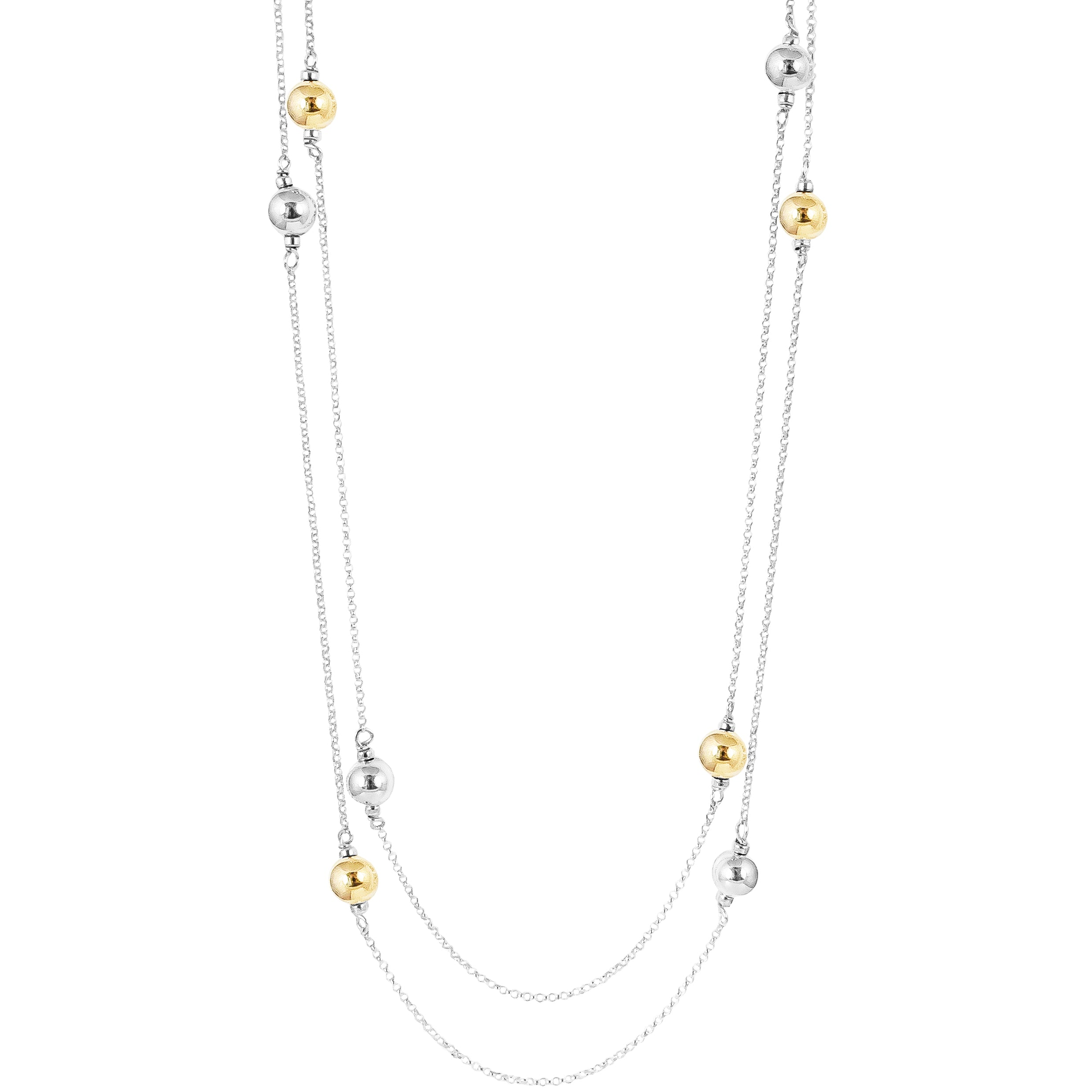 Carmen Necklace - Long | Polished Silver And Gold Detail