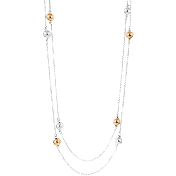 Carmen Necklace - Long | Polished Silver And Rose Detail