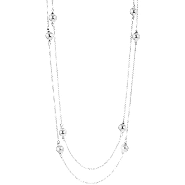 Carmen Necklace - Long | Polished Silver Detail