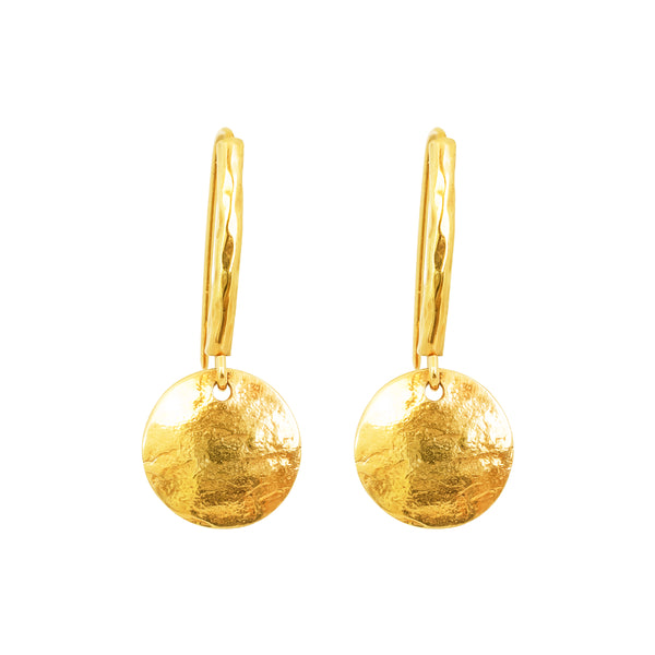Catia Statement Hook Earrings With Disc | Gold