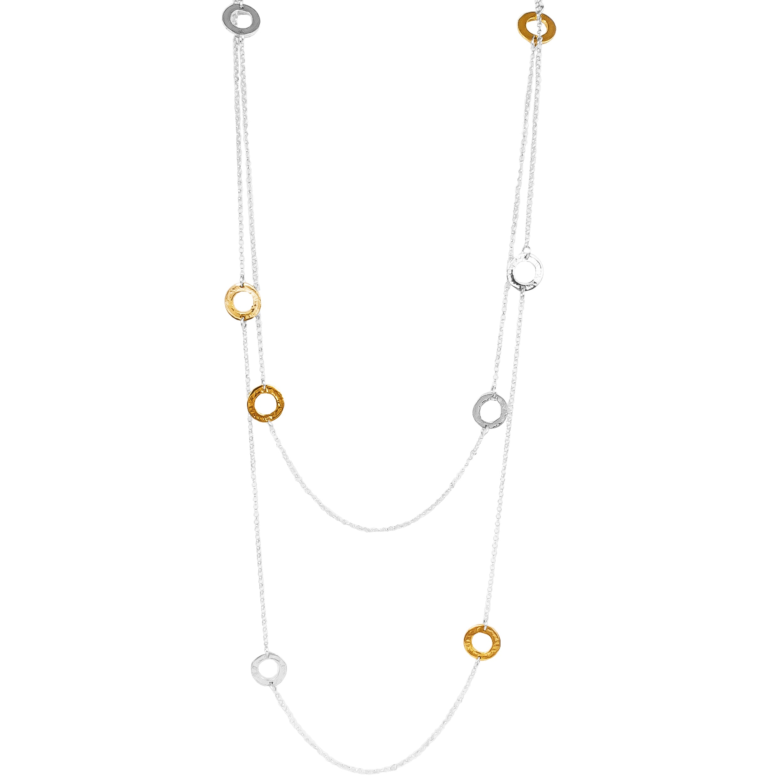Chloe Necklace - Long | Hammered Silver & Gold Detail