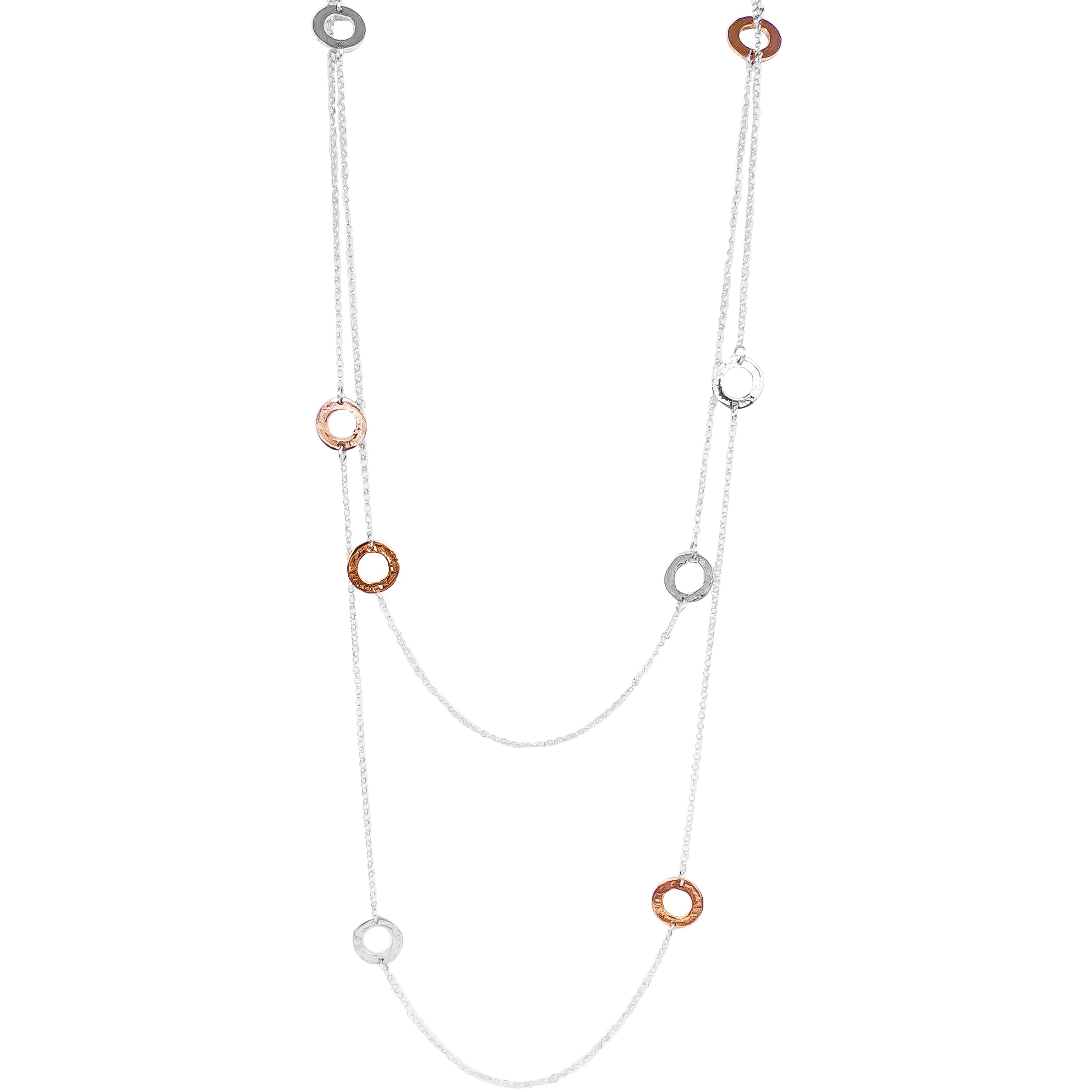 Chloe Necklace - Long | Hammered Silver & Rose Detail