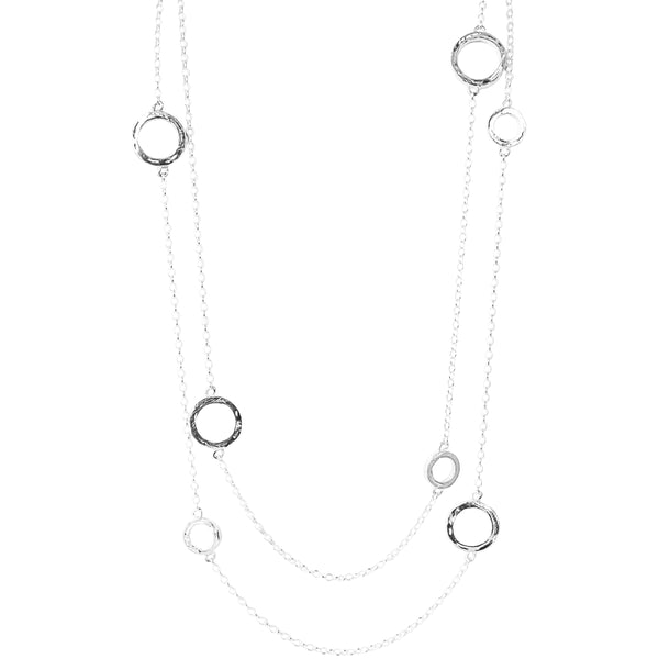Ciara Necklace - Long | Hammered Silver Detail