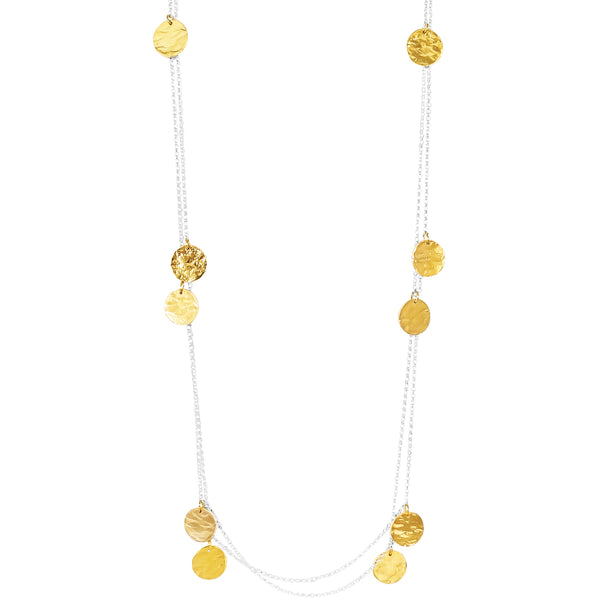 Coco Necklace - Long | Hammered Gold Detail