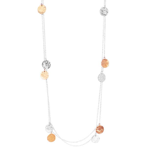 Coco Necklace - Long | Hammered Silver And Rose Detail