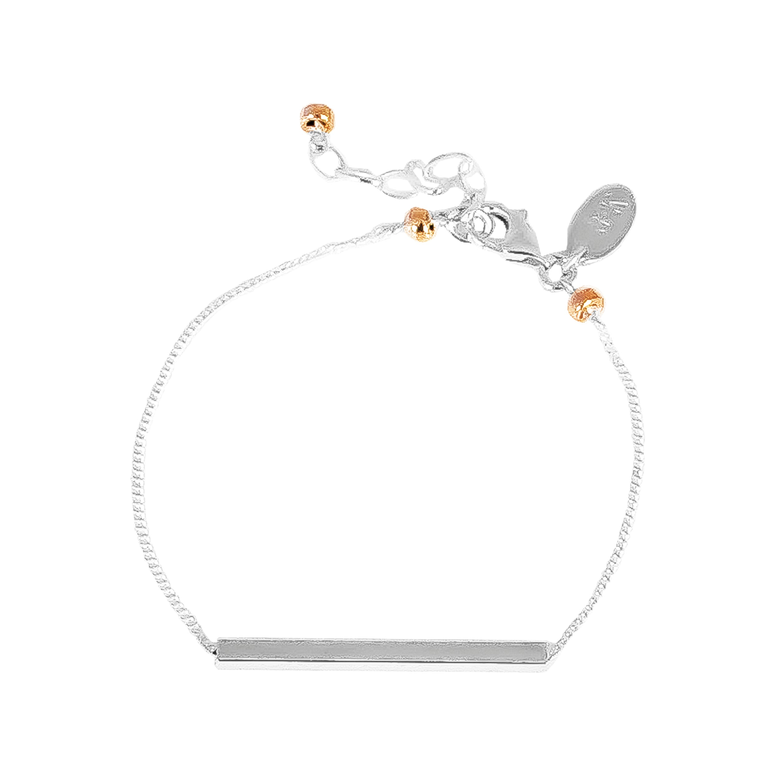 Cooper Bracelet | Polished Silver Bar And Rose Detail