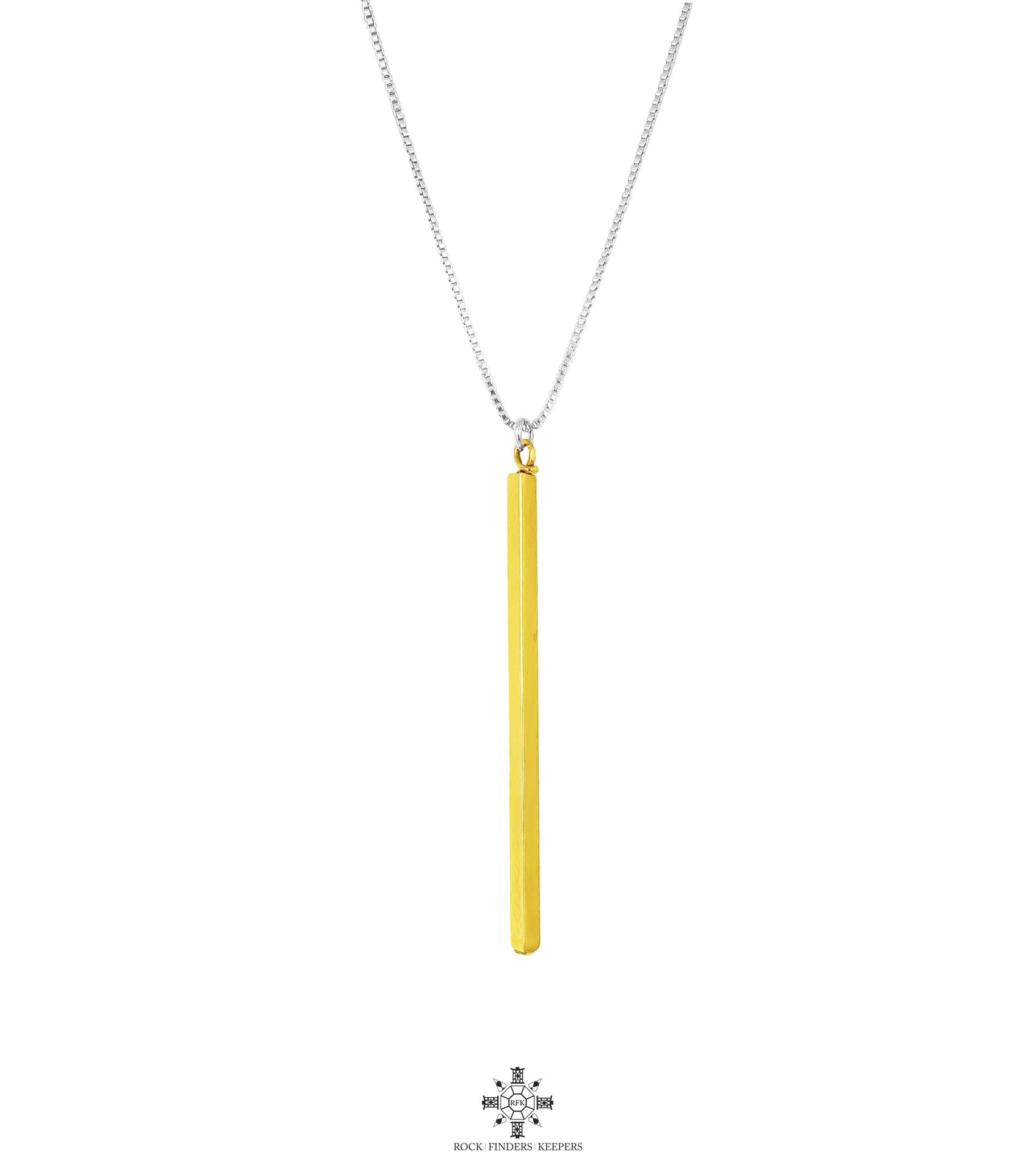 Deacon Polished Bar Necklace - Long | Gold