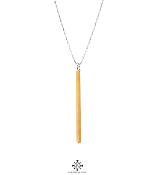 Deacon Polished Bar Necklace - Long | Rose