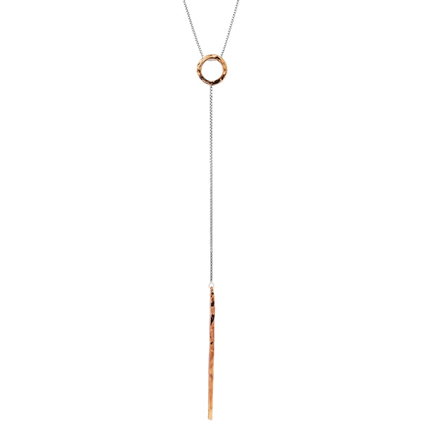 Electra Necklace - Long | Hammered Rose Detail