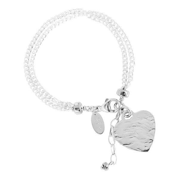Emilie Double Chain Bracelet With Hammered Heart | Silver Heart And Detail