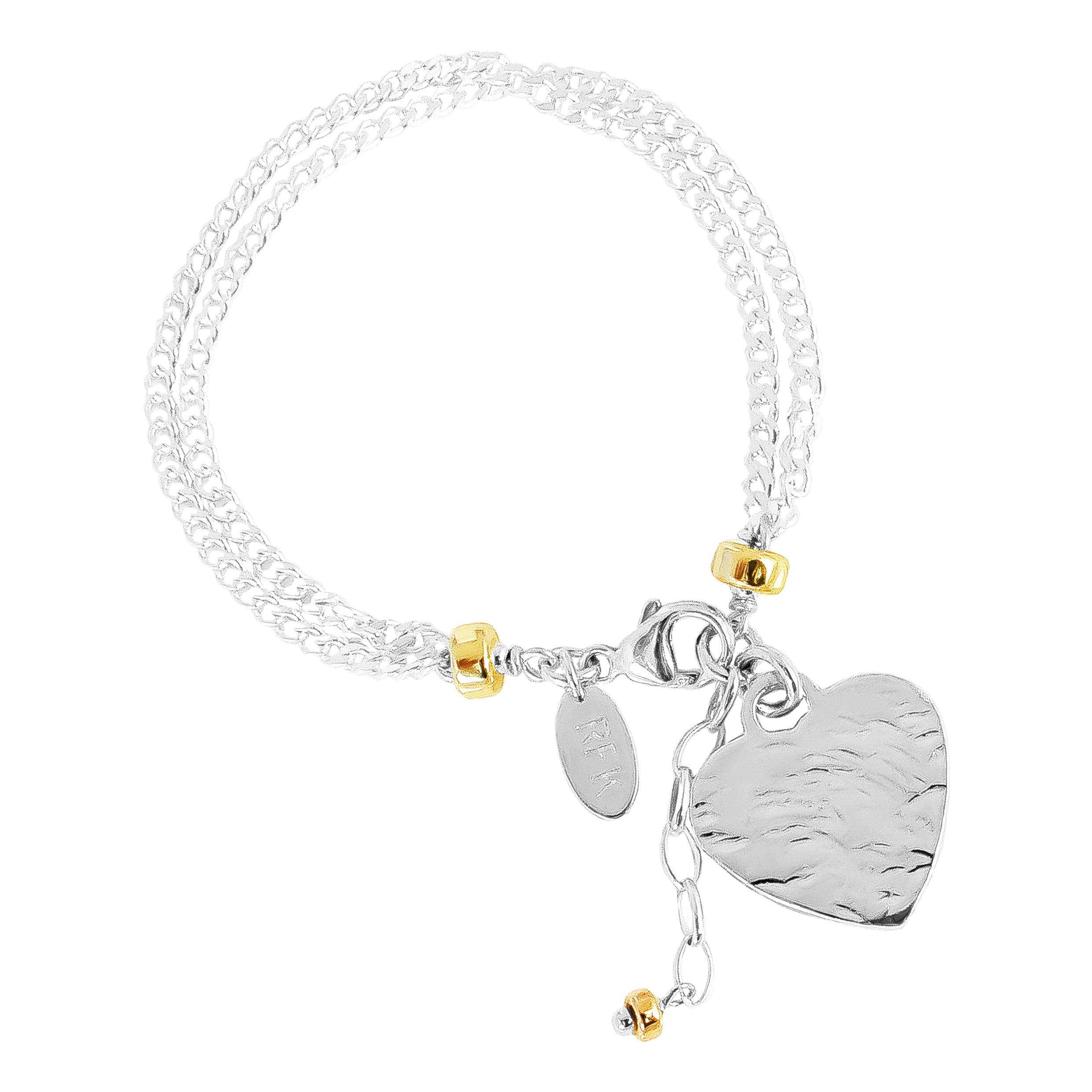 Emilie Double Chain Bracelet With Hammered Heart | Silver Heart And Gold Detail