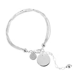 Emmy Multi Box Chain Bracelet With Polished Disc | Silver Disc And Detail