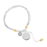 Emmy Multi Box Chain Bracelet With Polished Disc | Silver Disc And Gold Detail