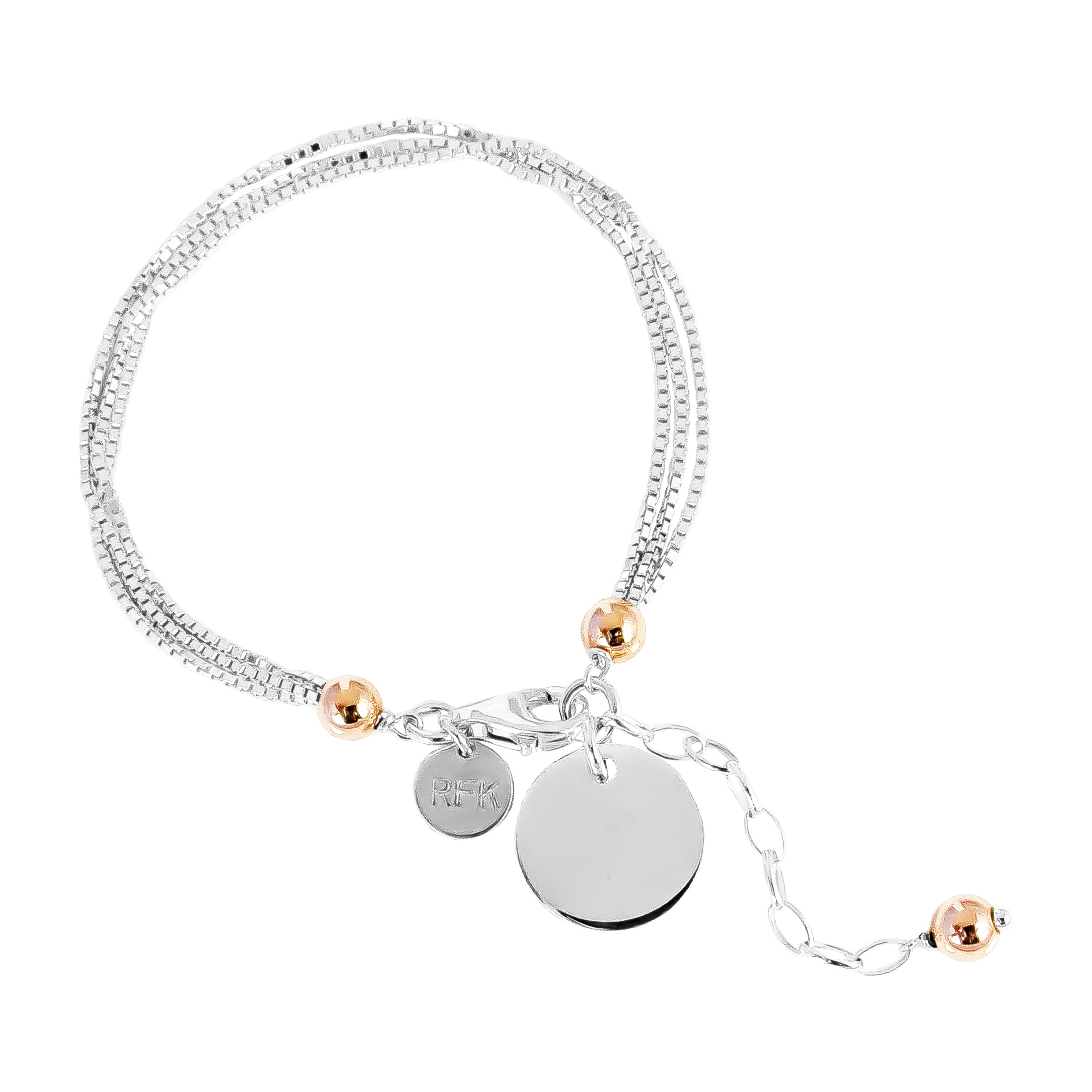 Emmy Multi Box Chain Bracelet With Polished Disc | Silver Disc And Rose Detail