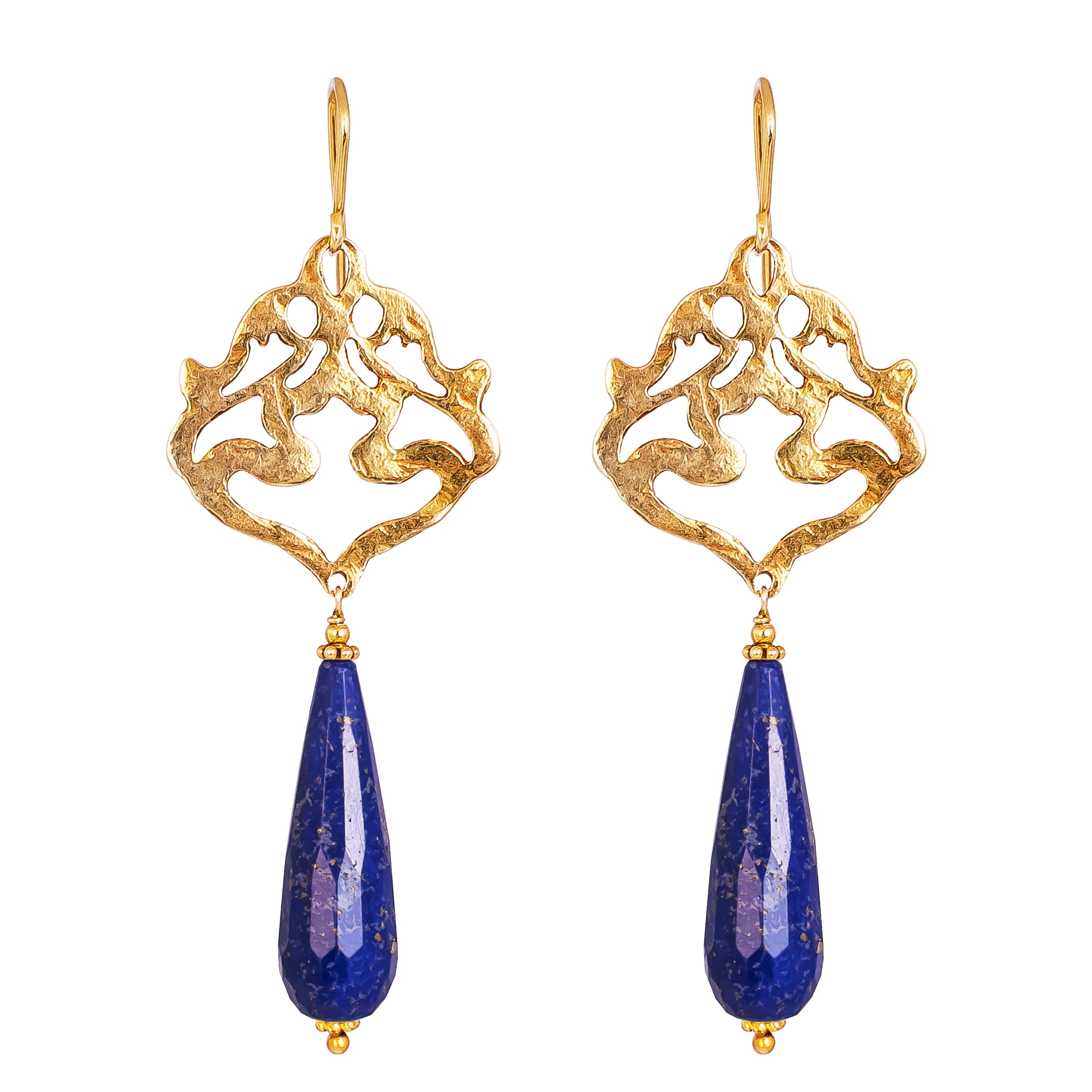 Flamingo Earrings | Hammered Gold With Faceted Lapis Detail
