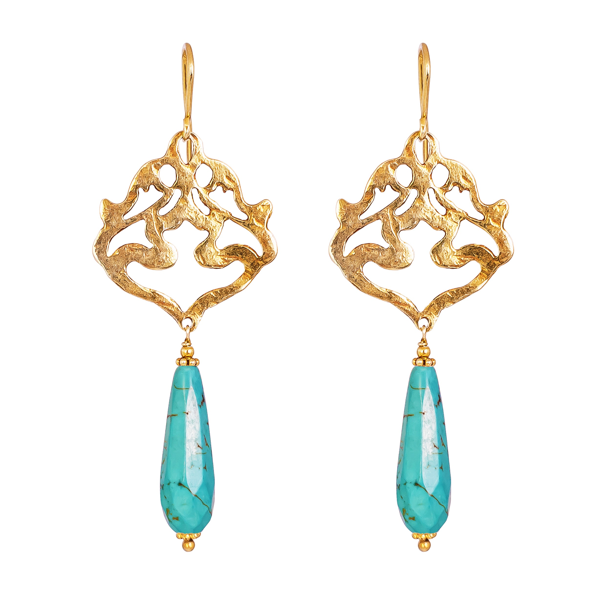 Flamingo Earrings | Hammered Gold With Faceted Turquoise Detail
