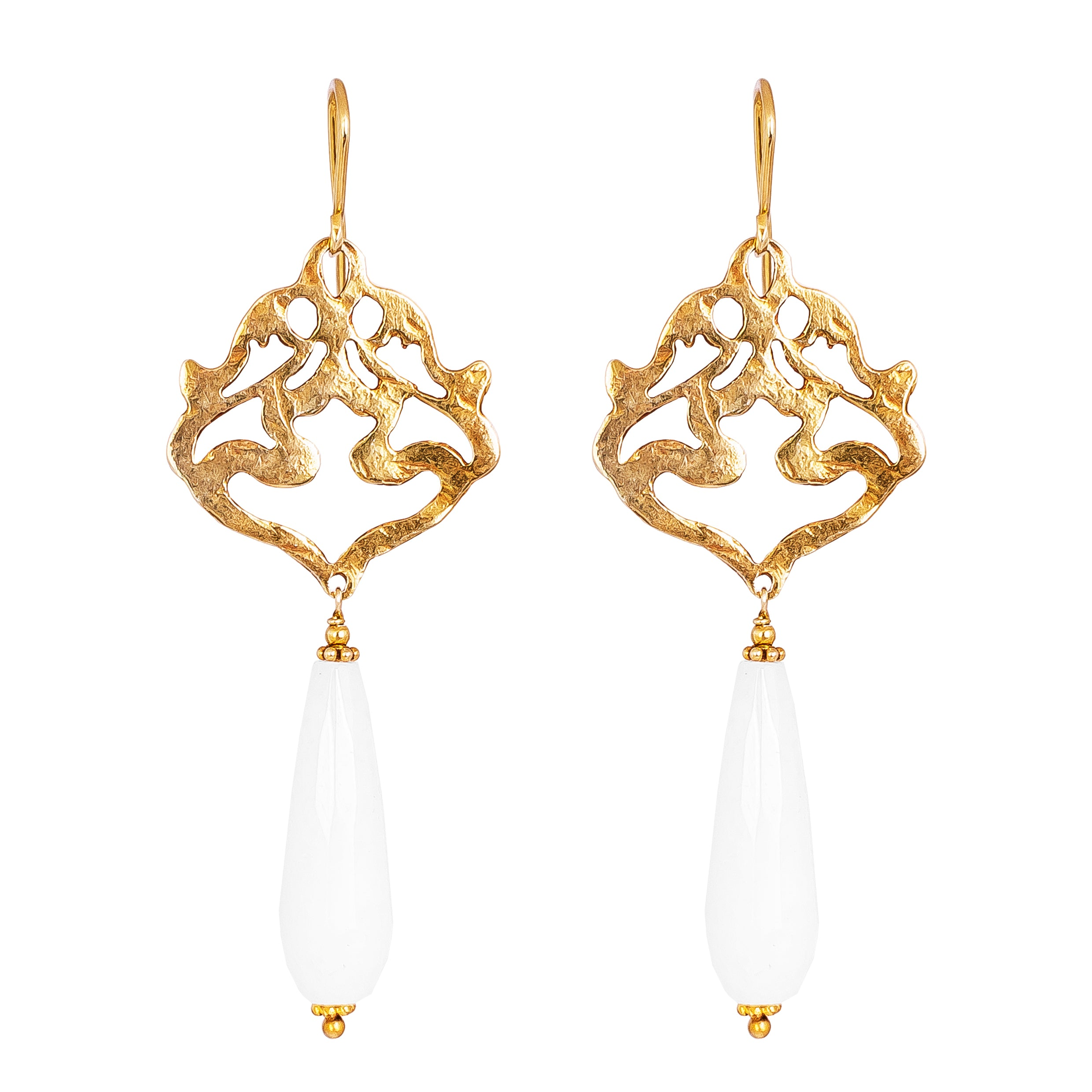 Flamingo Earrings | Hammered Gold With Faceted White Jade Detail