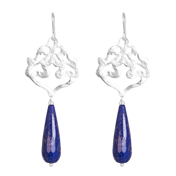 Flamingo Earrings | Hammered Silver With Faceted Lapis Detail