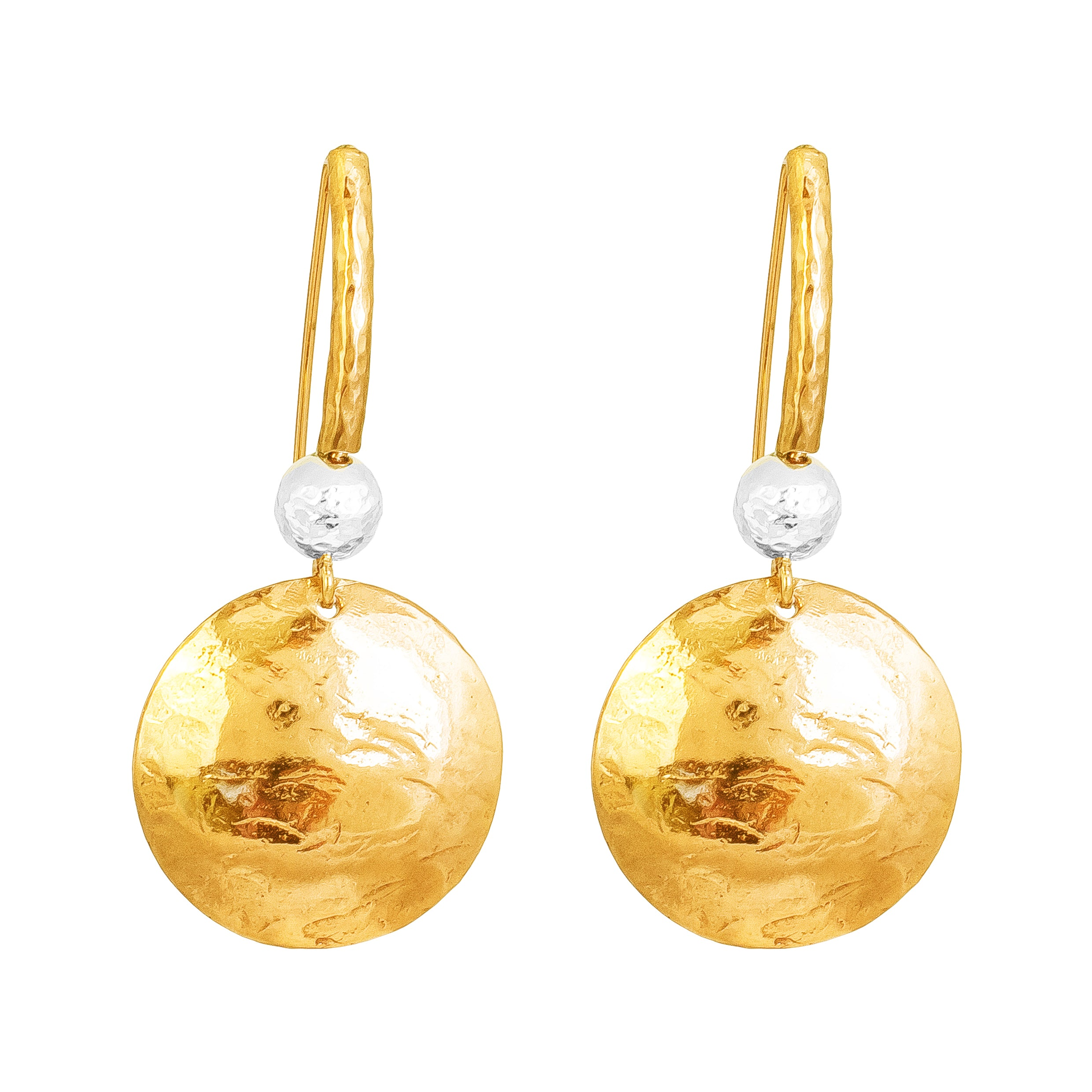 Genevieve Disc Earrings With Statement Hook | Gold With Hammered Silver Detail
