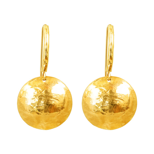 Genevieve Disc Earrings With Statement Hook | Gold