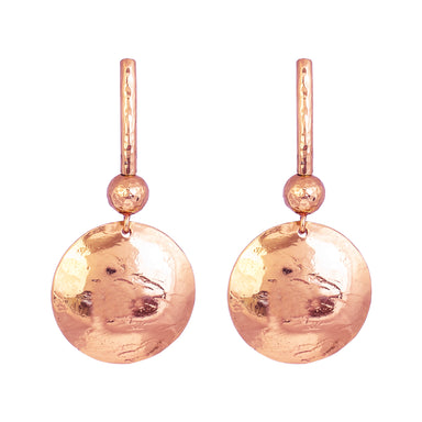 Genevieve Disc Earrings With Statement Hook | Rose With Hammered Rose Detail