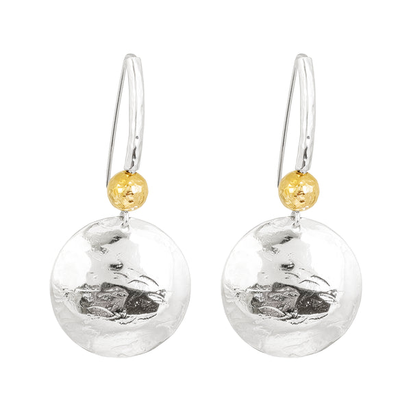 Genevieve Disc Earrings With Statement Hook | Silver With Hammered Gold Detail